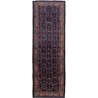 eCarpetGallery  Hand-knotted Mahal Navy Blue Wool Rug - 3'3 x 10'5