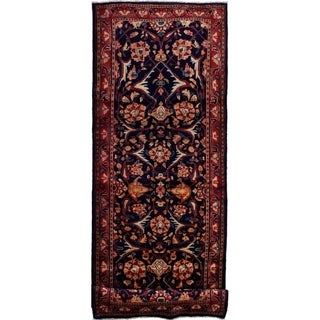 eCarpetGallery  Hand-knotted Mahal Dark Navy Wool Rug - 3'8 x 10'0