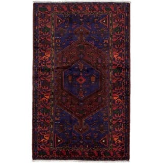eCarpetGallery Hand-knotted Hamadan Dark Blue, Dark Red Wool Rug - 4'3 x 6'11