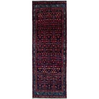 eCarpetGallery  Hand-knotted Hamadan Dark Navy Wool Rug - 3'4 x 9'7