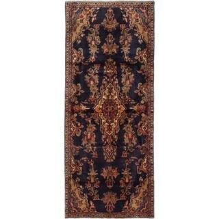eCarpetGallery  Hand-knotted Hamadan Dark Navy Wool Rug - 3'10 x 9'4