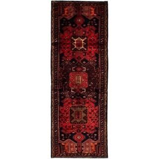 eCarpetGallery  Hand-knotted Hamadan Dark Navy, Red Wool Rug - 3'5 x 9'7