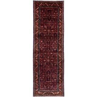 eCarpetGallery  Hand-knotted Hosseinabad Dark Navy Wool Rug - 3'6 x 11'0