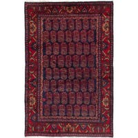 eCarpetGallery  Hand-knotted Hamadan Navy Blue, Red Wool Rug - 4'4 x 6'11