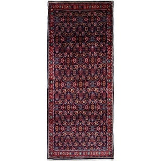 eCarpetGallery  Hand-knotted Mahal Navy Blue Wool Rug - 3'10 x 9'2