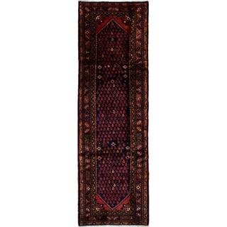 eCarpetGallery  Hand-knotted Hosseinabad Dark Blue Wool Rug - 3'1 x 10'0