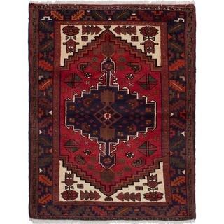 eCarpetGallery  Hand-knotted Hamadan Dark Navy, Red Wool Rug - 3'6 x 4'6
