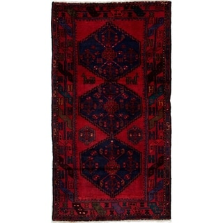 eCarpetGallery  Hand-knotted Hamadan Navy Blue, Red Wool Rug - 3'5 x 6'8