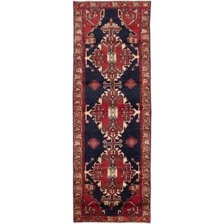 eCarpetGallery  Hand-knotted Hamadan Dark Navy, Red Wool Rug - 3'6 x 10'0