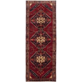 eCarpetGallery  Hand-knotted Hamadan Dark Navy, Dark Red Wool Rug - 3'5 x 9'6