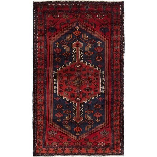 eCarpetGallery Hand-knotted Hamadan Dark Navy, Red Wool Rug - 4'6 x 7'8