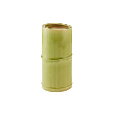 Elements 7-Inch Green Bamboo Shoot Ceramic Vase