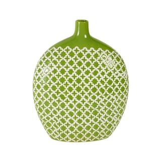 Elements 13-Inch Green Patterned Ceramic Vase