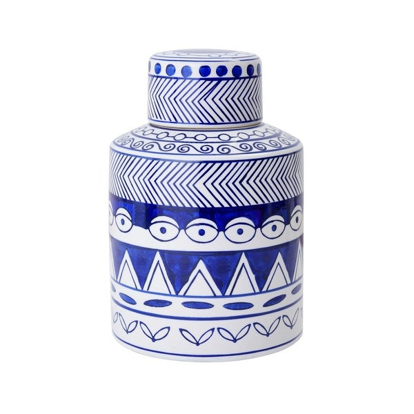 Bombay 8.5-Inch Assorted Pattern Blue-White Jar With Lid