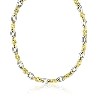 14k Two Tone Gold Textured And Smooth Oval Chain Necklace