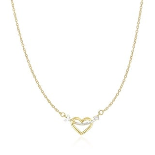 14k Two Tone Gold Necklace With Interlaced Heart And Arrow Charm