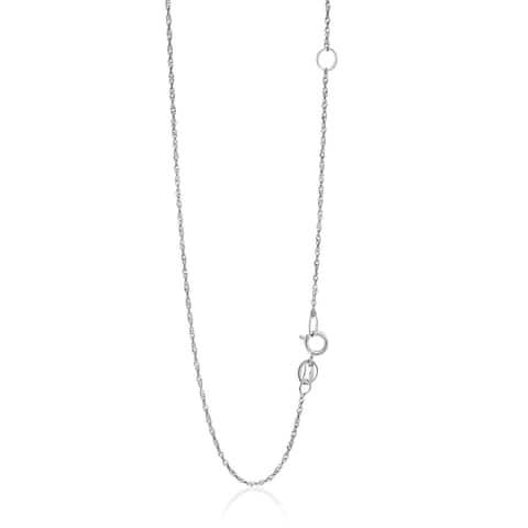 14k White Gold Adjustable Singapore Chain 1.1mm