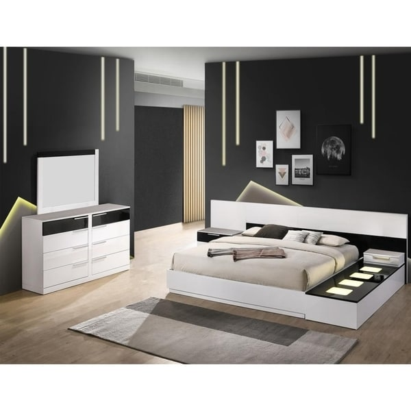 Shop Best Master Furniture 6 Pieces Black/ White Platform Bedroom ...