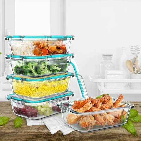 Classic Cuisine 1-Compartment Meal Prep Glassware With Snap Shut Lids Food Storage Containers (Set of 5)