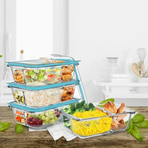 Food Storage Containers-Set of 4 Three Compartment Meal Prep Glassware and Snap Shut Lids by Classic Cuisine - Set of 4
