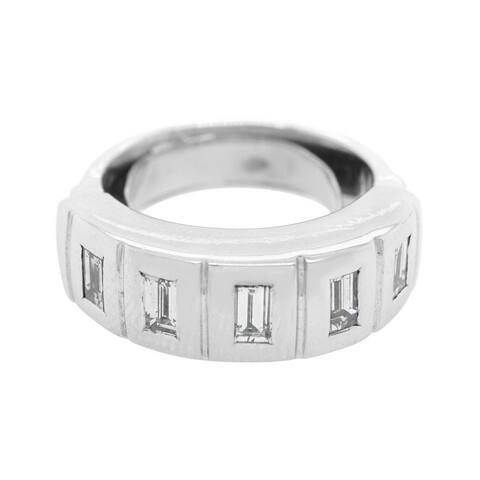 18K White Gold Five Stones Vintage Diamond Band Ring (I-J,VS1-VS2)