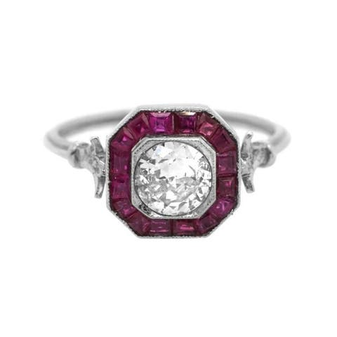 Platinum Diamond & Ruby Estate Enagagement Ring (I-J,S1-S2)