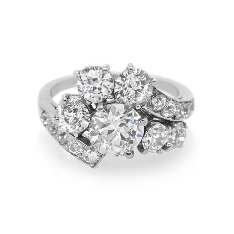 Platinum Oldmine-Cut Dimaond Vintage Ring (I-J, SI1-SI2) - White