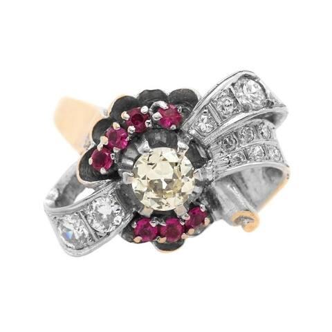 14K Two-Tone Gold Ruby Deco Diamond Cocktail Ring (K-L, H-I, VS1-VS2)