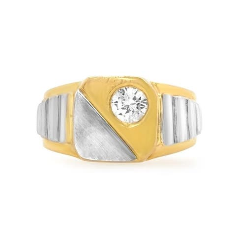 18K Two-Tone Gold Solitaire Diamond 1970's Vintage Ring (H-I,SI1-SI2)