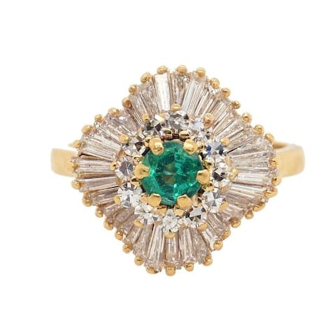 18K Yellow Gold Diamond and Emerald Vintage Ballerina Ring (I-J,VS1-VS2)