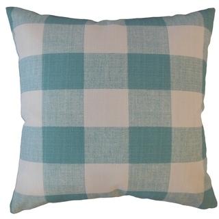 Oormi Plaid Throw Pillow Aqua
