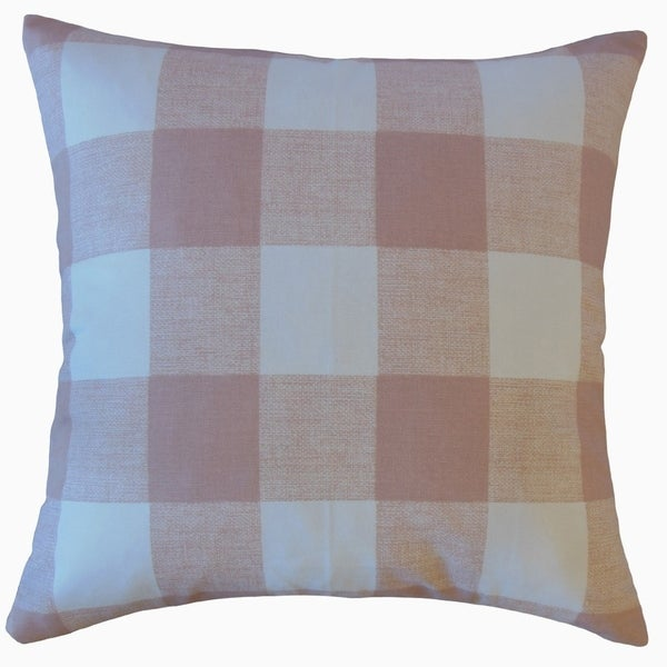 Jaspen Plaid Throw Pillow Blush
