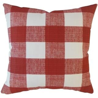 Oormi Plaid Throw Pillow Sangria
