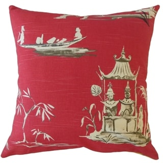 Bikita Chinoiserie Throw Pillow Azalea