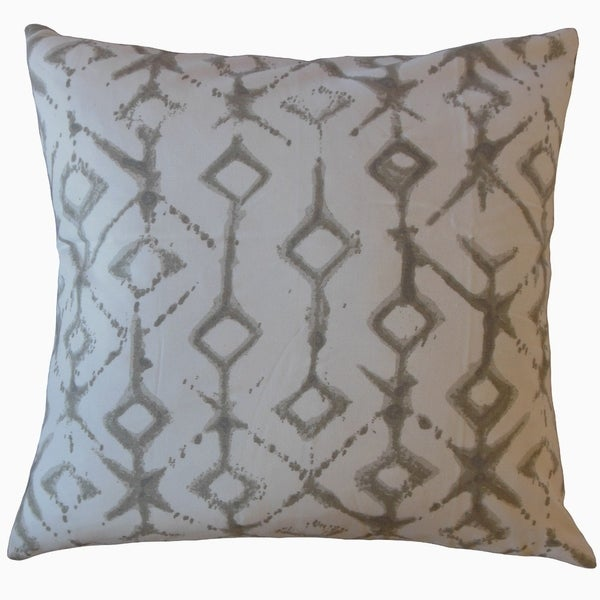 Kaniel Ikat Throw Pillow Ecru