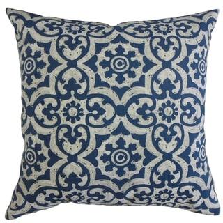 Parmida Damask Throw Pillow Navy