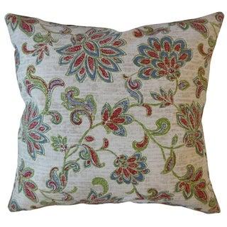 Farica Floral Throw Pillow Viridian