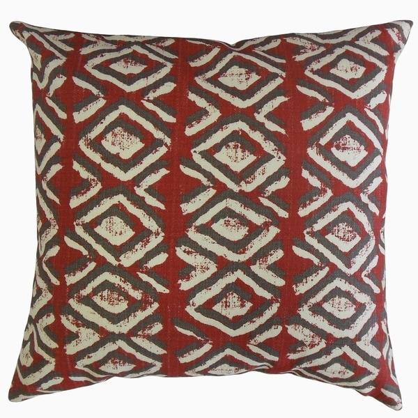 Barbod Ikat Throw Pillow Sangria