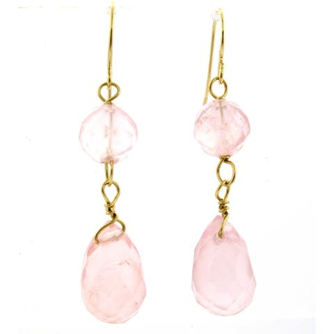 Yellow Gold Rose Quartz round and drop earings