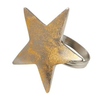 Saro Lifestyle Gold Star Textured Dinner Napkin Rings (Set of 4)