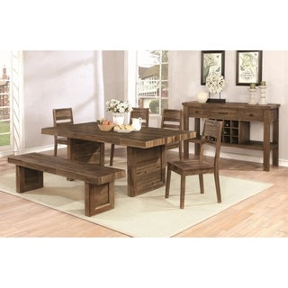 Modern Reclaimed Natural Wood Dining Set with Wine Storage Server