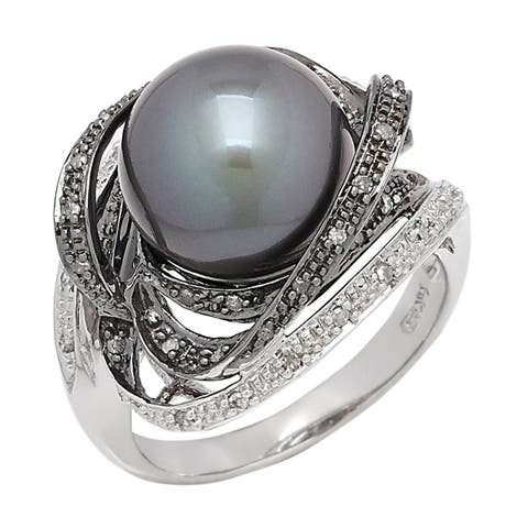 Genuine Diamond and Tahitian Pearl from Tahiti by Pearl Lustre - Black
