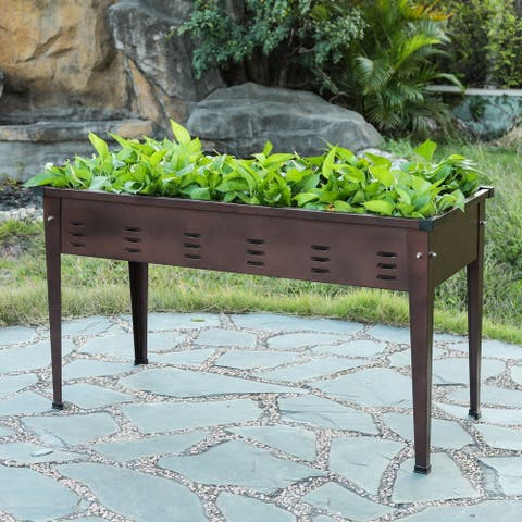 39.5in Metal Rectangular Raised Garden Planter