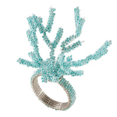Saro Lifestyle Glass and Iron Beaded Coral Dinner Napkin Rings (Set of 4)
