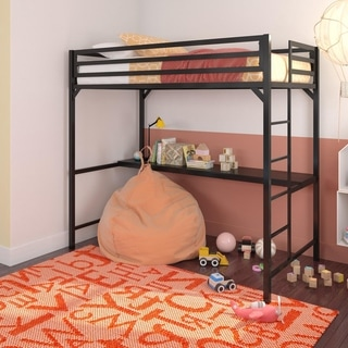Porch & Den Wilkesboro Black/Blue/Silver Metal Twin Loft Bed with Desk