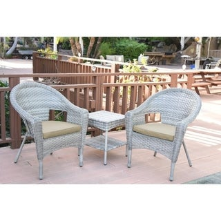 Jeco Grey Resin Clark Wicker Single Chair with Tan Cushion and End Table (Set of 3)