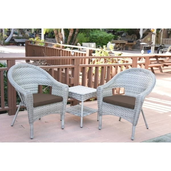 Clark Grey Resin Wicker Chairs with 2-inch Brown Cushion and End Table