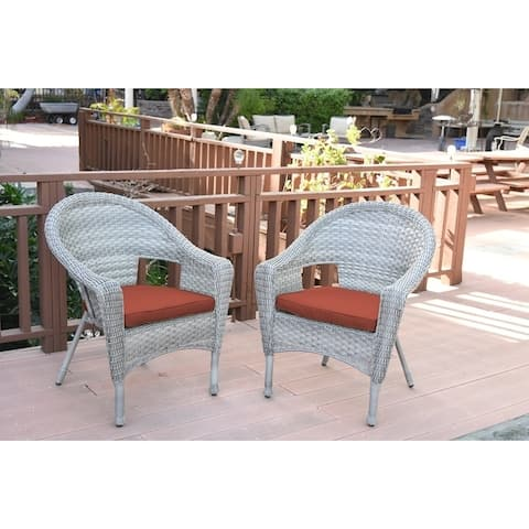 Set of 2 Resin Wicker Clark Single Chair with 2 inch Brick Red Cushion