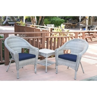 Clark Resin Wicker Chairs with 2-inch Midnight Blue Cushion and End Table (Set of 3)