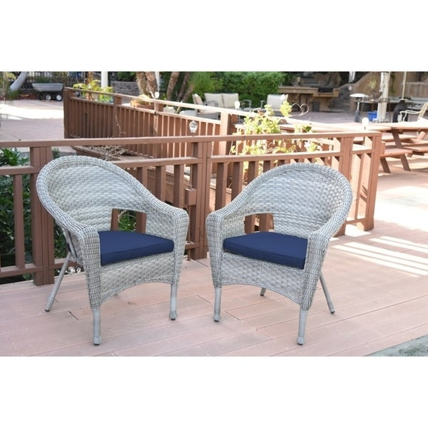 Set of 2 Resin Wicker Clark Single Chair with 2 inch Midnight Blue Cushion